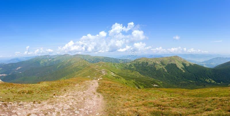 Groene bergheuvel met blauwe hemel stock afbeeldingen