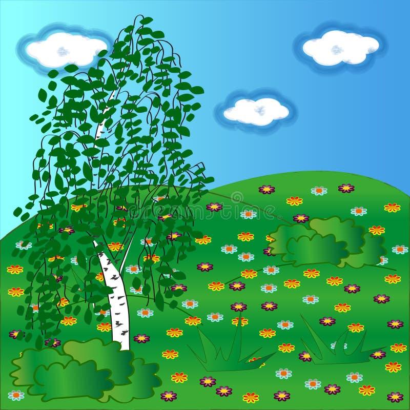 Groene berk op een bloemenopen plek royalty-vrije stock foto's