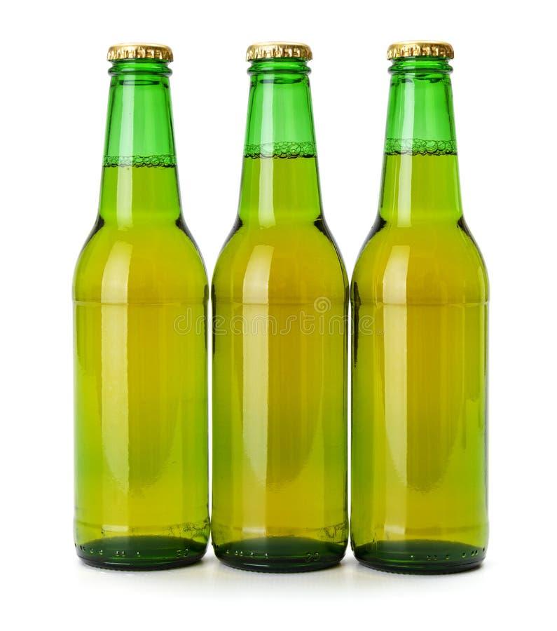 Groene bierflessen stock afbeelding