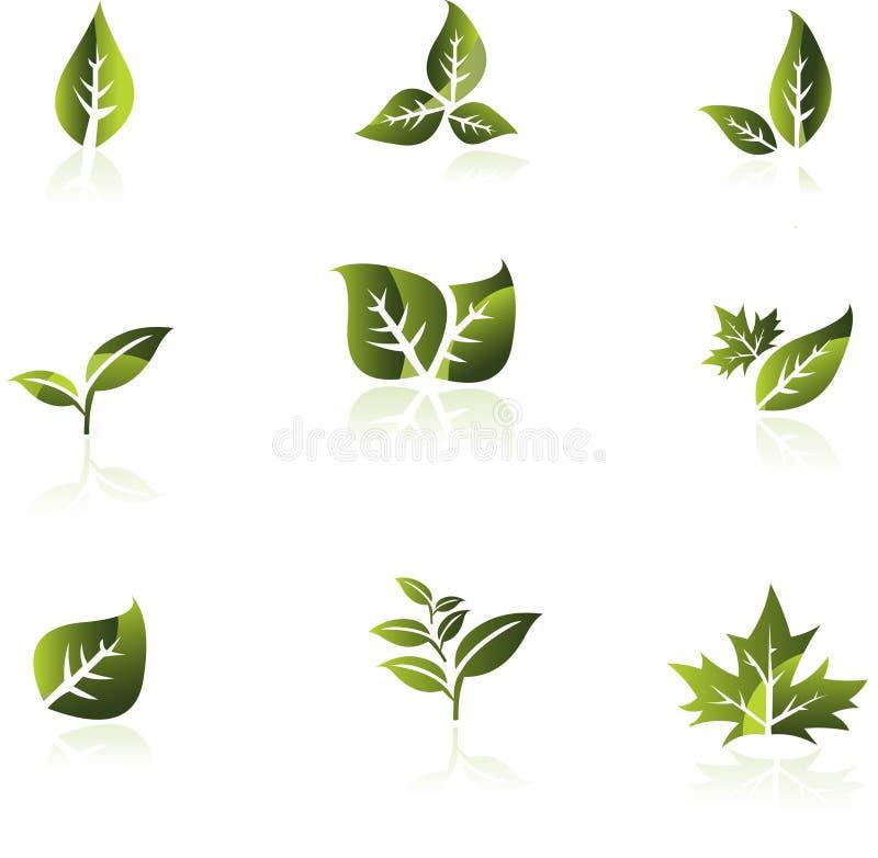Groene blad vectorreeks. vector illustratie