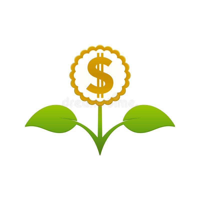 Groene bladbloem met dollarteken vector illustratie