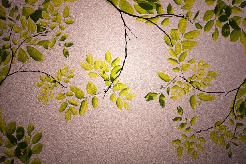 Groene bladeren berijpte glastextuur als achtergrond stock afbeeldingen