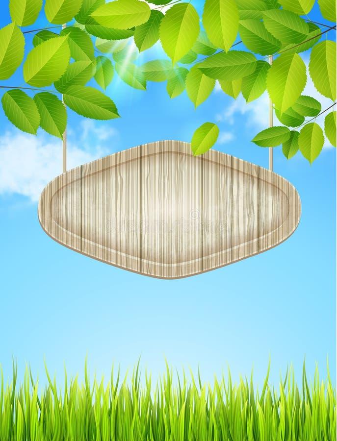 Groene bladeren en houten banner vector illustratie
