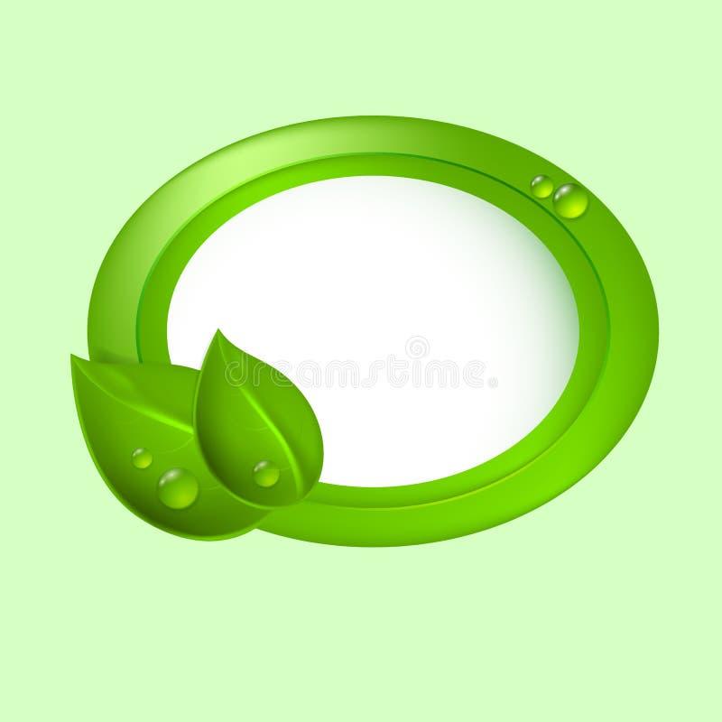 Groene bladeren met cirkel. Ecoconcept. royalty-vrije illustratie
