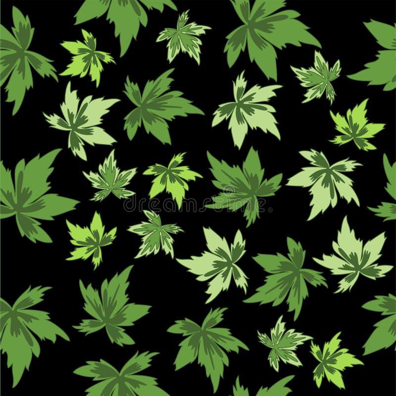 Groene bladeren op zwarte achtergrond. Naadloos. vector illustratie