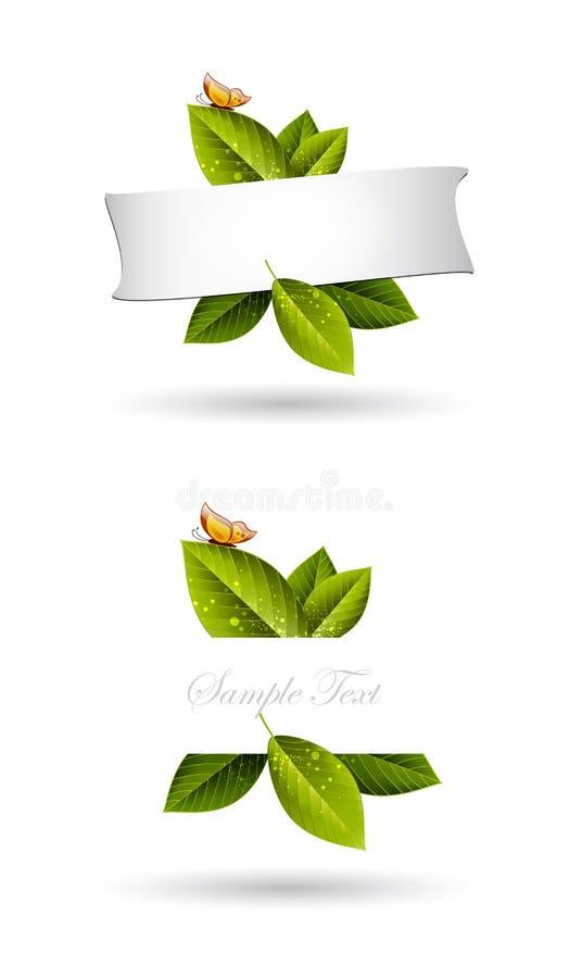 Groene bladerenframe achtergrond stock illustratie