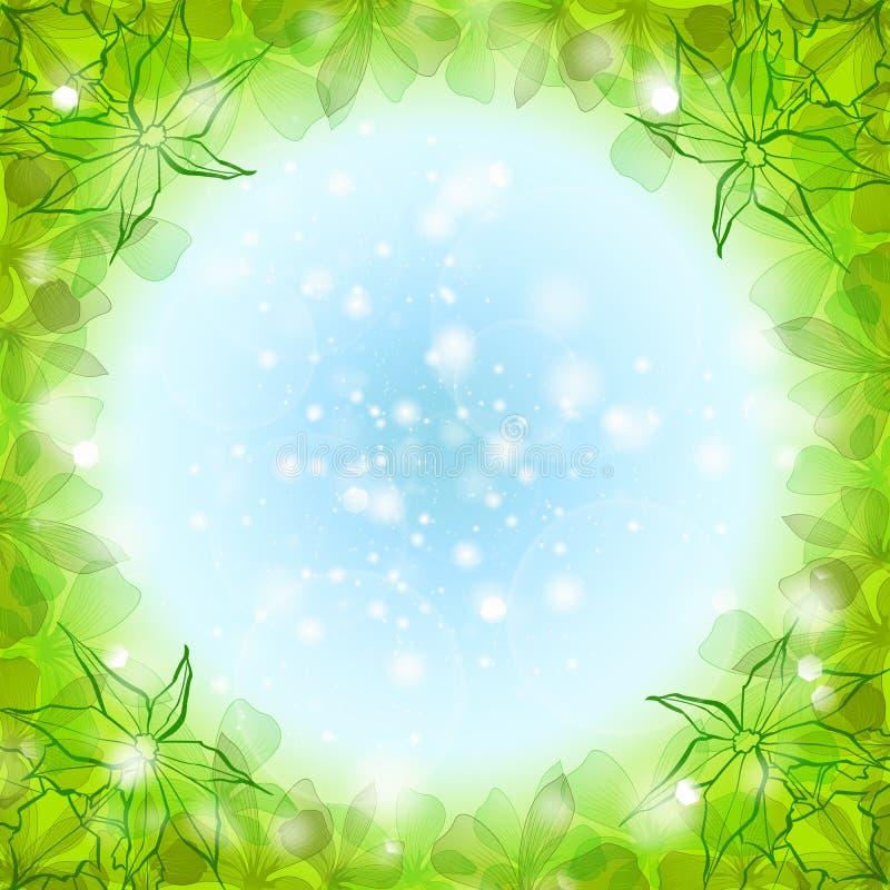 Groene bladerengrens vector illustratie