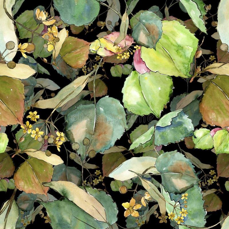 Groene bladerenlinde Botanisch de tuin bloemengebladerte van de bladinstallatie Naadloos patroon als achtergrond royalty-vrije illustratie