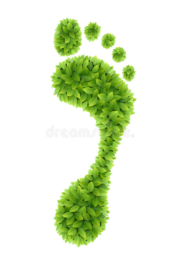 Groene bladerenvoetafdruk royalty-vrije illustratie