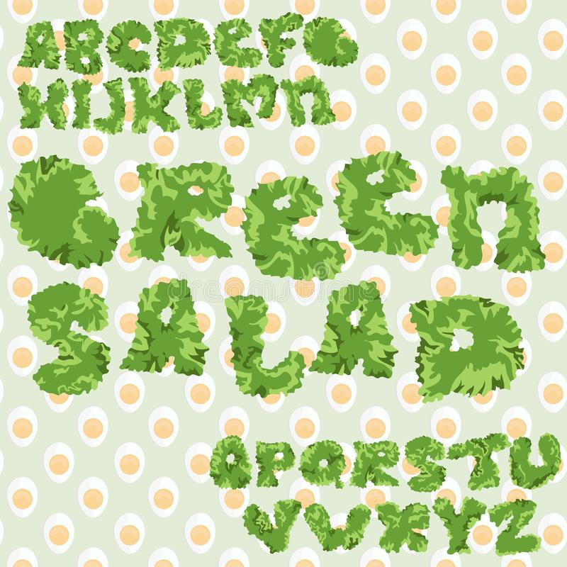 Groene bladsalade ABC met eieren naadloze achtergrond, geïsoleerde brieven stock illustratie