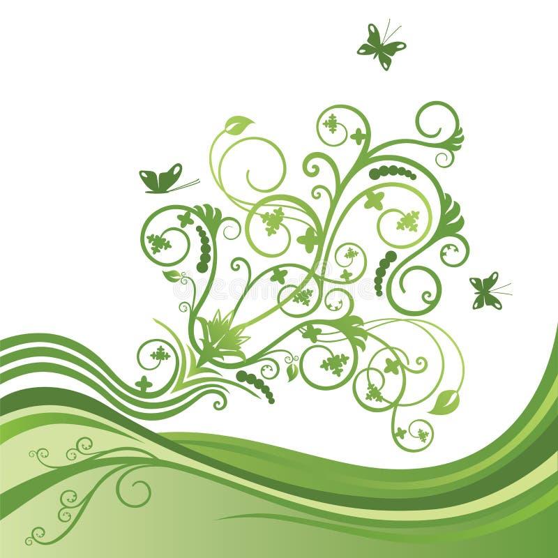 Groene bloem en vlindergrens vector illustratie