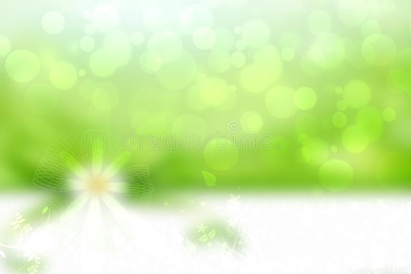 Groene Bloemachtergrond Abstracte textuur als achtergrond met bloemenontwerp in lichtgroene en witte bokeh als element voor ontwe stock illustratie