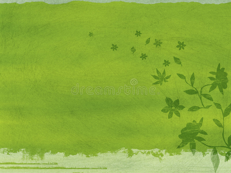 Groene Bloemen Grunge stock illustratie