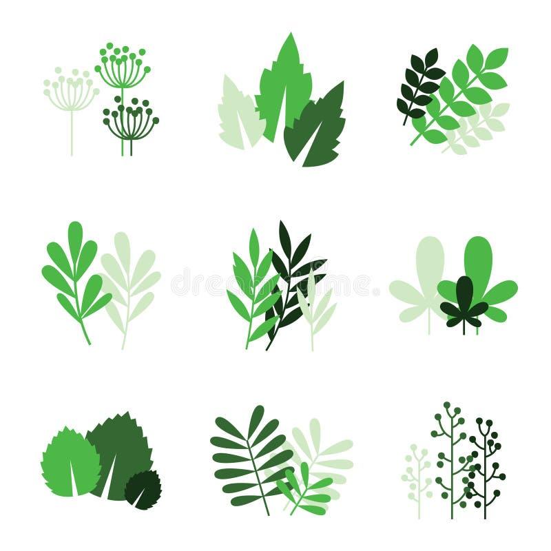 Groene bloemenpictogrammen royalty-vrije illustratie
