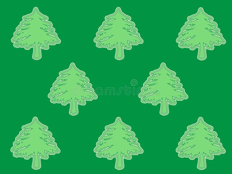 Groene bomen op donkere achtergrond royalty-vrije illustratie