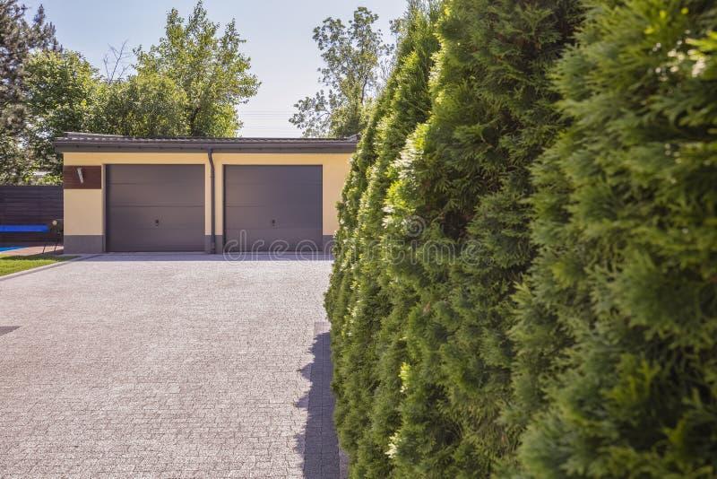 Groene bomen op het bezit van huis met garage en steenweg royalty-vrije stock afbeelding