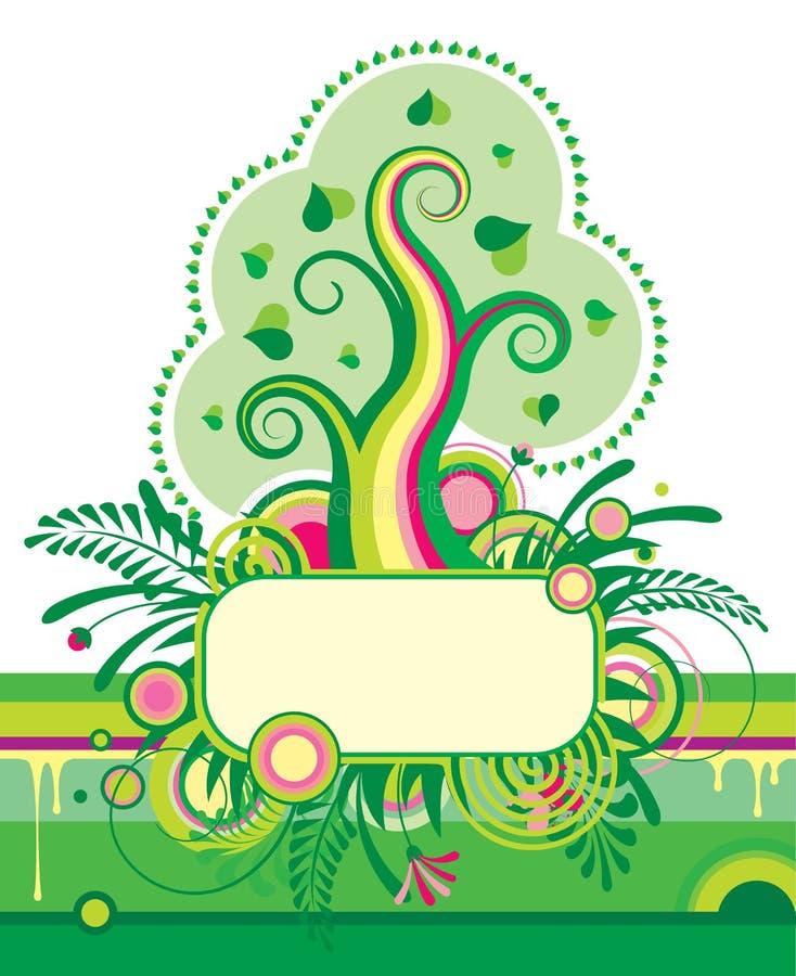 Groene boom en een bloemenbanner vector illustratie