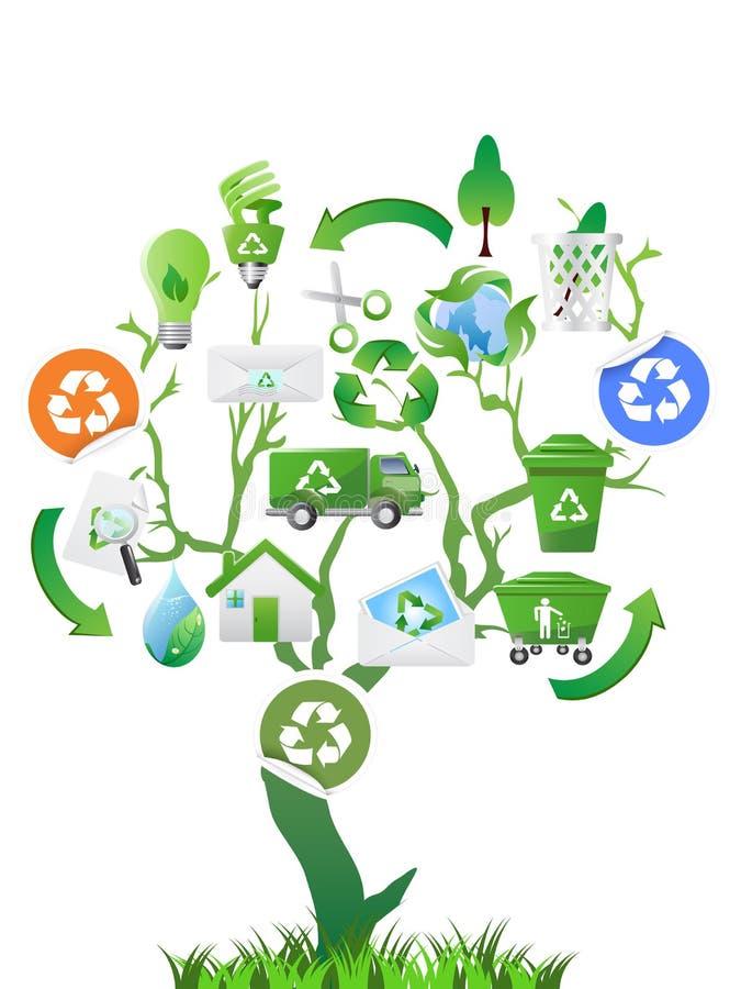 Groene boom met ecopictogrammen stock illustratie