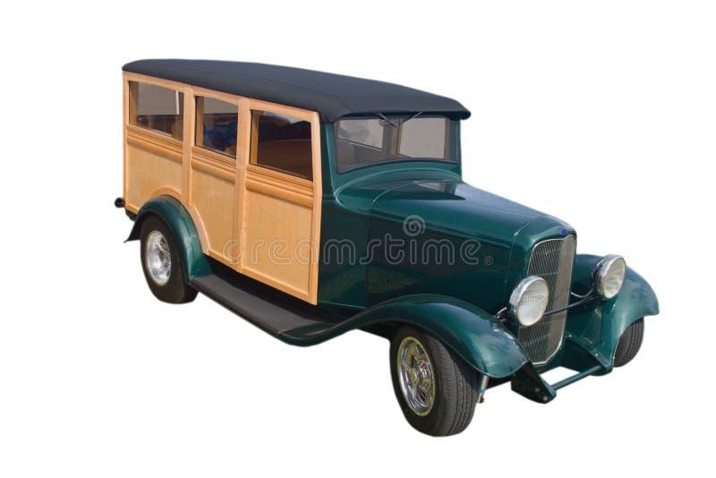 Groene bosrijke paneelbestelwagen stock afbeeldingen
