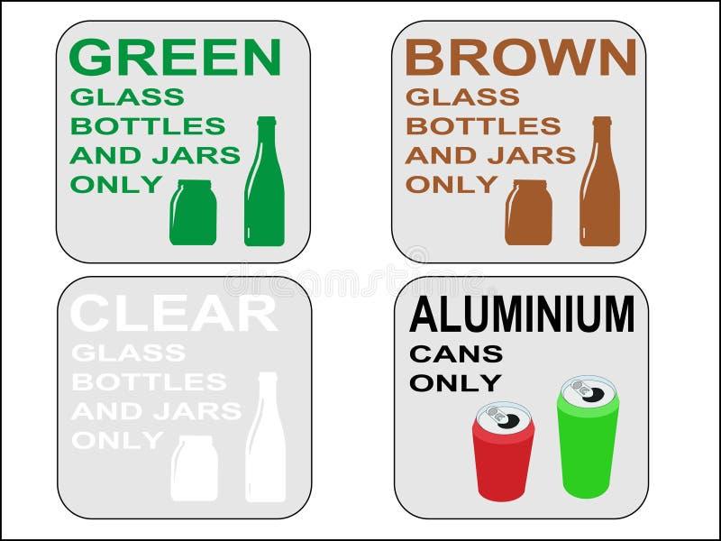Groene bruine en duidelijke flessen stock illustratie