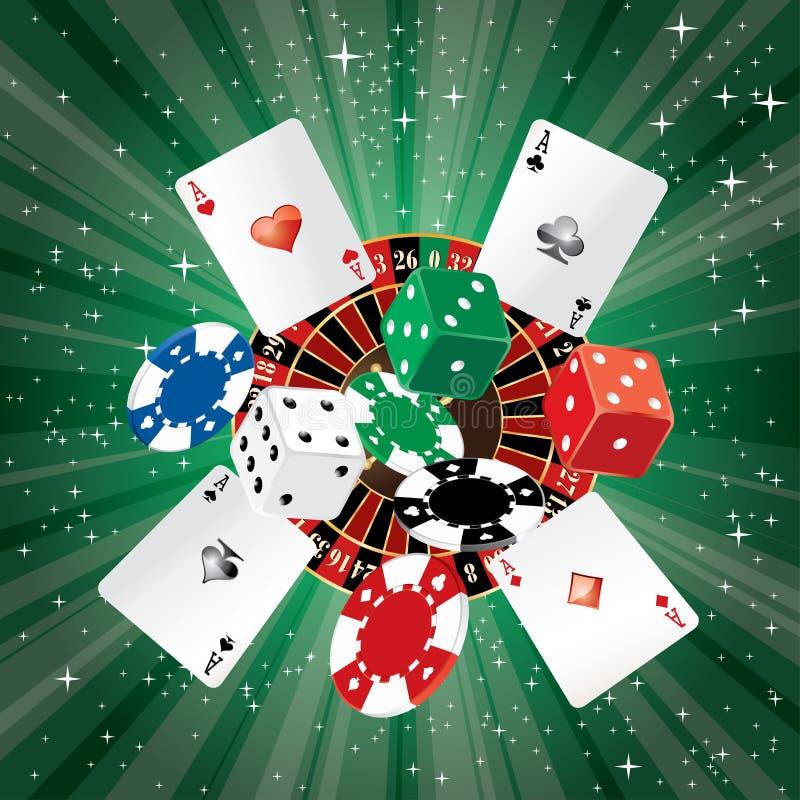 Groene casinospaanders royalty-vrije illustratie