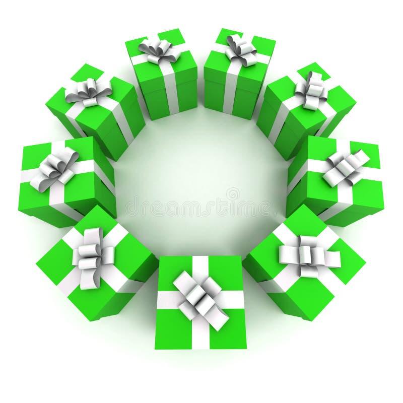 Groene cirkel 2 van giftdozen stock illustratie