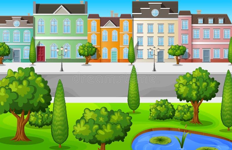 Groene cityscape met gebouwen en bomen stock illustratie