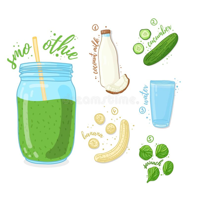 Groene cocktail voor het gezonde leven Smoothies met komkommer, kokosmelk, banaan en spinazie Organische receptenvegetari?r stock illustratie