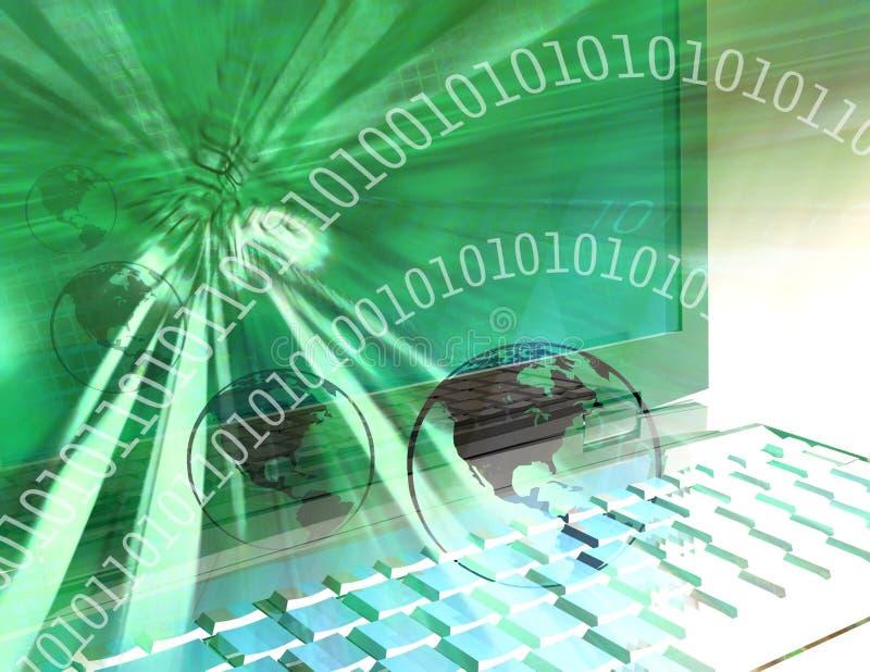 Groene computertechnologiewereld - royalty-vrije illustratie