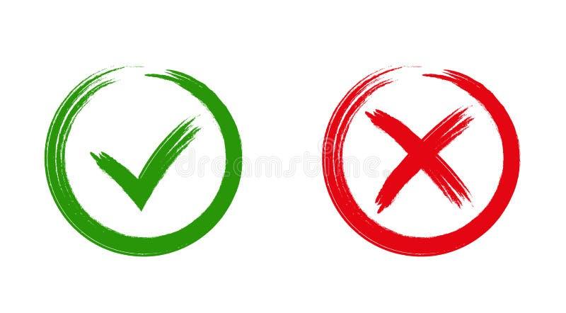 Groene controleteken O.K. en rode X pictogrammen, vector illustratie