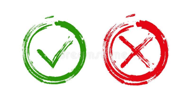 Groene controleteken O.K. en rode X pictogrammen, royalty-vrije illustratie