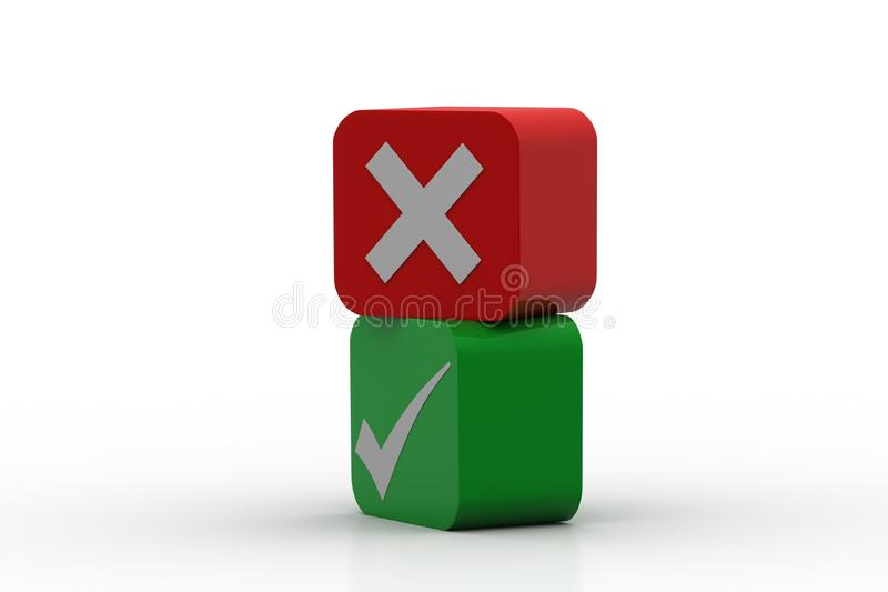 Groene controletekenstikken en rode kruisen royalty-vrije illustratie