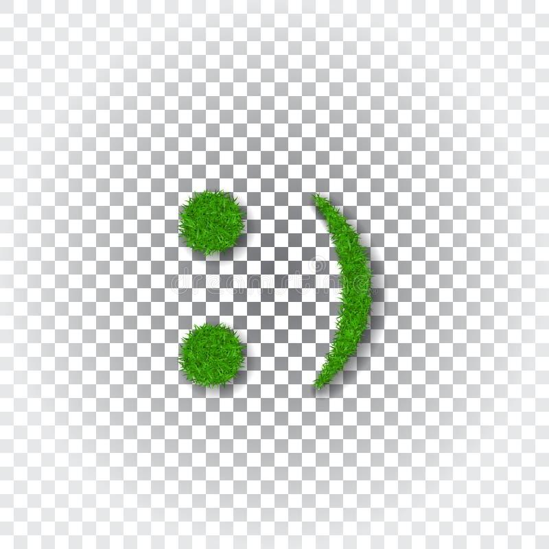 Groene 3D grasglimlach Isoleerde het Smiley grasrijke pictogram witte transparante achtergrond Het concept van de ecologie Gelukk royalty-vrije illustratie