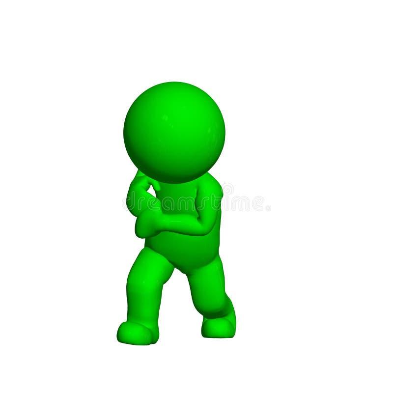Groene 3D Mensen - Trekkracht iets - op witte achtergrond stock illustratie