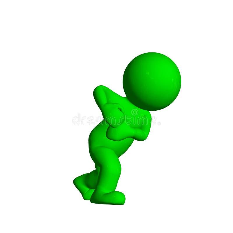 Groene 3D Mensen - Trekkracht iets - op witte achtergrond vector illustratie