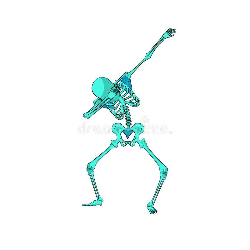 Groene dansende de scharstap van het skeletkarakter vector illustratie