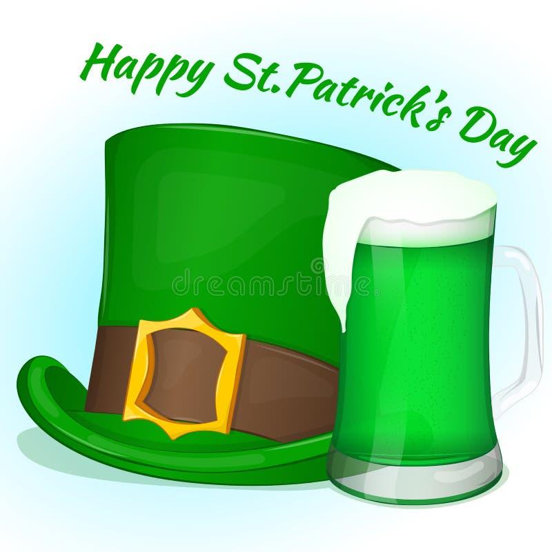 Groene de Daghoed van Heilige Patricks met glas groen bier Achtergrond voor St Patrick ` s dag in beeldverhaalstijl Vector illust vector illustratie