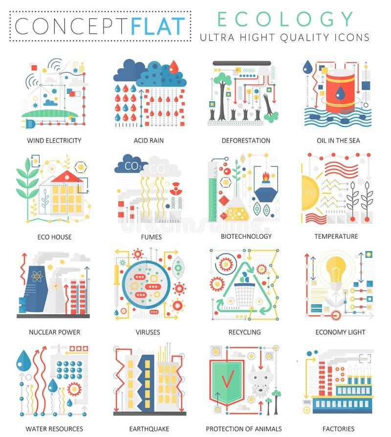 Groene de Ecologiepictogrammen van het Infographics miniconcept voor Web Van het de kleuren de conceptuele vlakke ontwerp van de  royalty-vrije illustratie