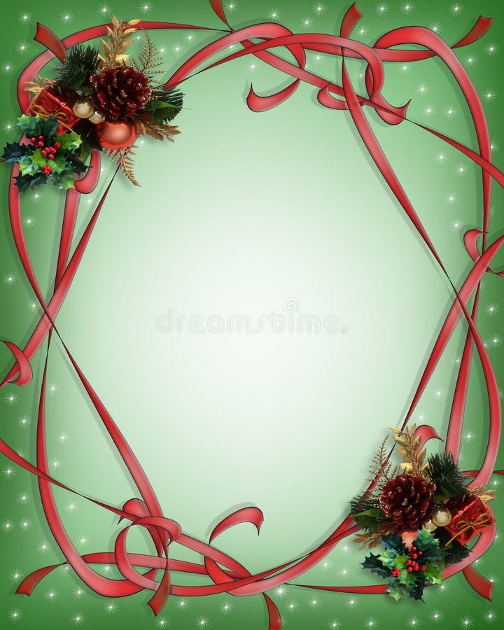 Groene de Grens van de Linten van Kerstmis stock illustratie