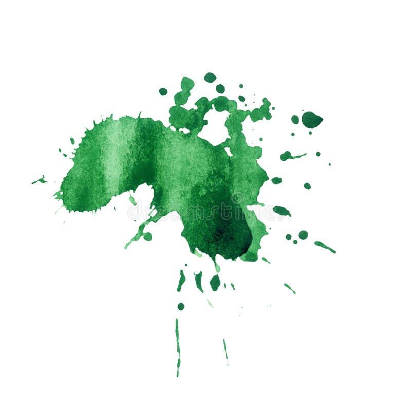 Groene de plonstextuur van de verfwaterverf stock illustratie