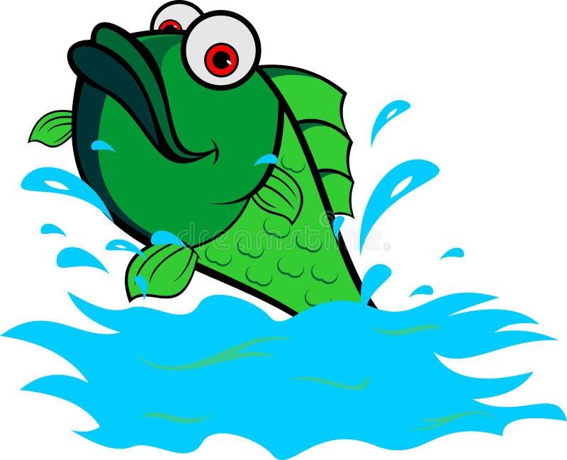 Groene de vissensprong van het voorraadembleem van water stock illustratie