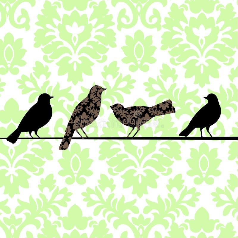 Groene de Vogels van het damast vector illustratie