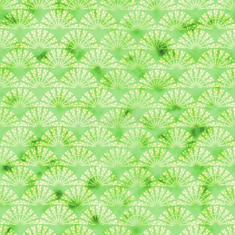Groene decoratief watercolored achtergrondpatroon royalty-vrije illustratie