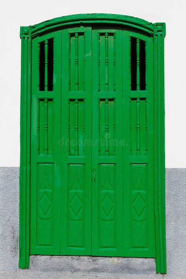 Groene deur-Spaanse architectuur-Kanarie Isl , Spanje royalty-vrije stock foto
