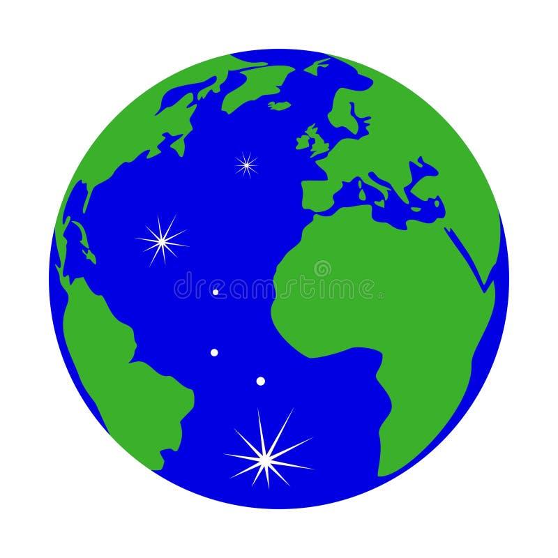 Groene die Aardebol met bezinningen op witte achtergrond worden ge?soleerd stock illustratie