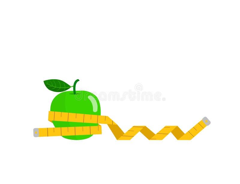 Groene die appel met meetlint wordt verpakt op witte achtergrond wordt geïsoleerd vector illustratie