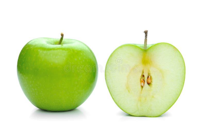 Groene die appel op wit wordt geïsoleerd royalty-vrije stock afbeeldingen
