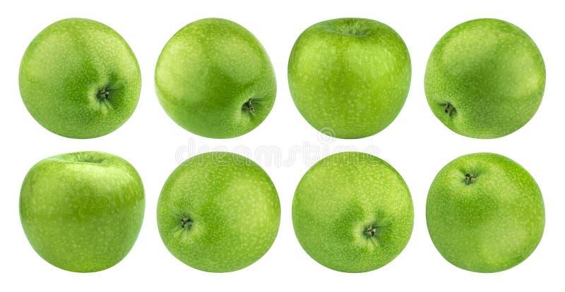 Groene die appel op witte achtergrond met het knippen van weg, Granny Smith, inzameling wordt geïsoleerd stock foto's