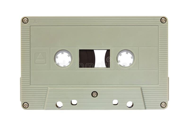 Groene die cassetteband op wit wordt geïsoleerd royalty-vrije stock afbeelding