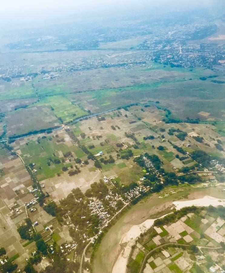 Groene die gebieden vanaf de bovenkant worden geschoten stock foto